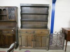 REPRODUCTION OAK DRESSER WITH PLATE RACK BACK OVER TWO DRAWERS AND CUPBOARD, 125CM WIDE