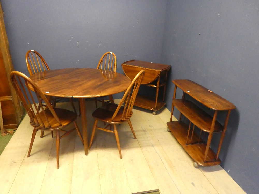 Lot 539 - Ercol dropleaf table & 4 chairs, buffet 3 tier side board & drop leaf tea trolley