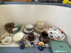 Qty of china and stone wear to include Denby Greystone, Mason Ironstone etc.