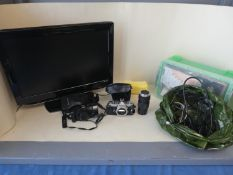 TV with DVD player, 2 cameras and electric plugs and tools