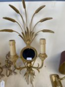 Qty of decorative brass wall lights and sconces