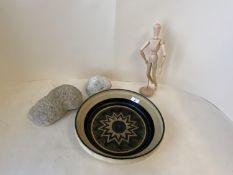 Large circular pottery dish, some corals & artists wooden model of a man