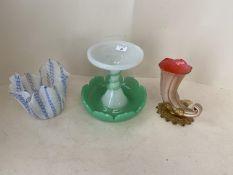 Three Victorian coloured glass vases including fine lattice pattern blue vase