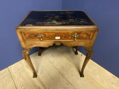 Good quality Queen Anne style walnut side table with oriental painted scene to the top, supported by