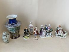 Qty of European china to include figurines CONDITION: General wear and cracks