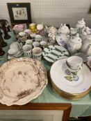 Qty of good quality decorative china including a pair of scalloped edge signed Mido, - to base and