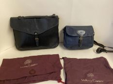 Mulberry navy blue leather handbag and a Mulberry black leather document case Condition: all worn