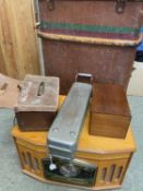 Vintage suitcase, vintage style radio, an old surgical steriliser and box with glass surgical