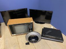 1 old vintage TV, and 2 flat screen TVs, Humax Freeview box & DVD player (can't guarantee working