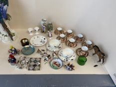 Royal Crown Derby 7 place coffee set, Meissen figurine & qty of other ceramics and glass CONDITION