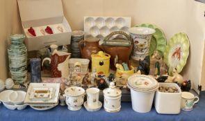 Quantity of modern china and kitchenalia, chicken and duck items, Princess Royal bone china,