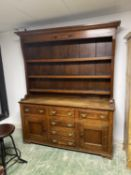 C19th Oak dresser with 6 drawers and cupboards and cupboards to base, 200cmH x 161W x 48cmD (