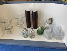 Pair of large glass vases, qty of glass candle holders, glass plates, large qty of tea light holders