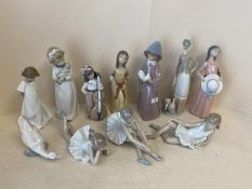 Qty of Nao & Lladro figurines see images for details CONDITION: no obvious signs of restoration or