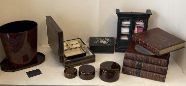 Quantity of decorative interior items including Nancy Calhoun collection lacquerware items,