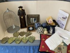 Qty of various items to include decorative balls, a wooden figure , engraved to back BURNS & OATES
