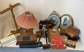 Quantity of treen, games, and other decorative items to include inlaid boxes mirrors, an oval mirror
