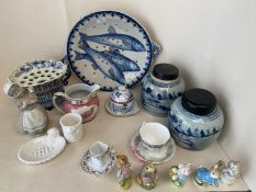 Qty of decorative china to include blue & white and Beatrix Potter figurines, see images. condition: