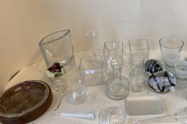 Qty of various glass ware including vases, decorative glass items, jugs, decanters and 3 of boxes of