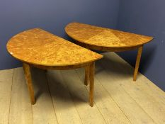 Pair of good quality light burr wood segmented top demi lune side tables pegged to make a round