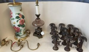 Qty of good quality lighting and decorative metal candle holders