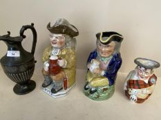 Qty of Toby jugs & pewter jug CONDITION: some cracks and general wear