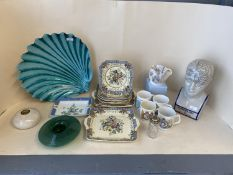 Qty of decorative china and glass including Royal Doulton The Vernon, commemorative mugs and a study