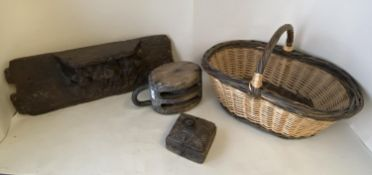 Wooden maritime rope pully, wooden carved teak box, wicker basket & wooden misericord CONDITION: