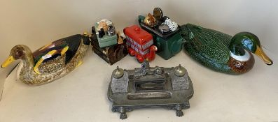 Qty of modern china to include ducks, novelty tea pots & old metal desk ink stand