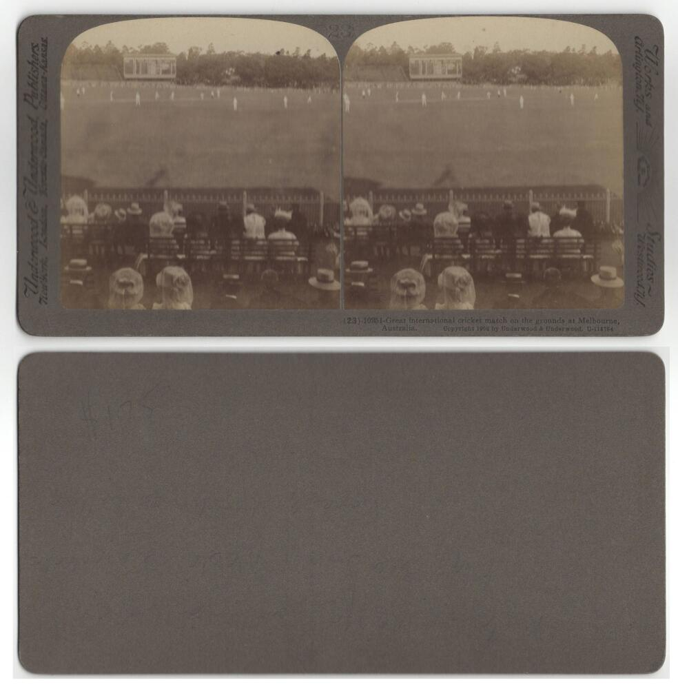 M.C.C. tour of Australia 1907/08. 'Great International cricket match on the grounds at Melbourne,