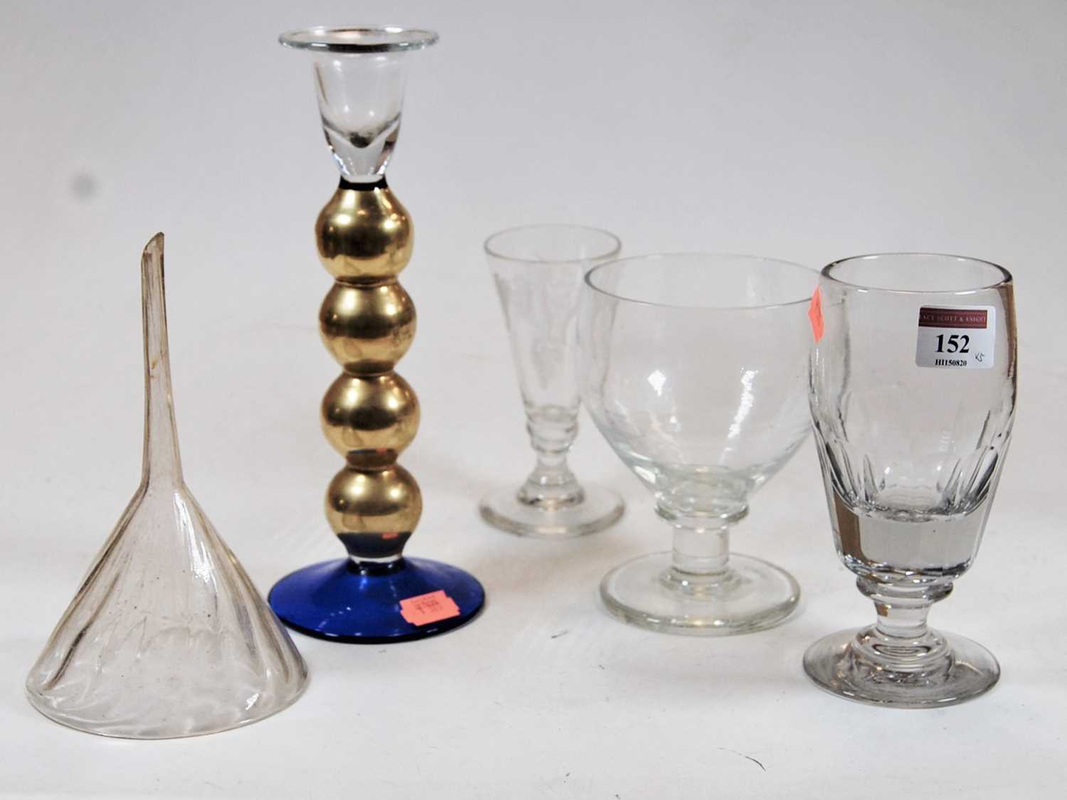 Lot 152 - A 19th century cut glass rummer; together with two other glasses, a glass funnel, and a