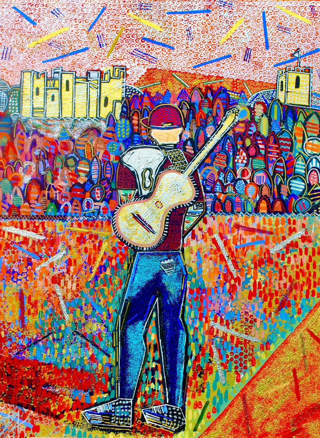 Ed & the Castle 2020 Ben Mosley Painting, Signed by Ed Sheeran Internationally acclaimed Official