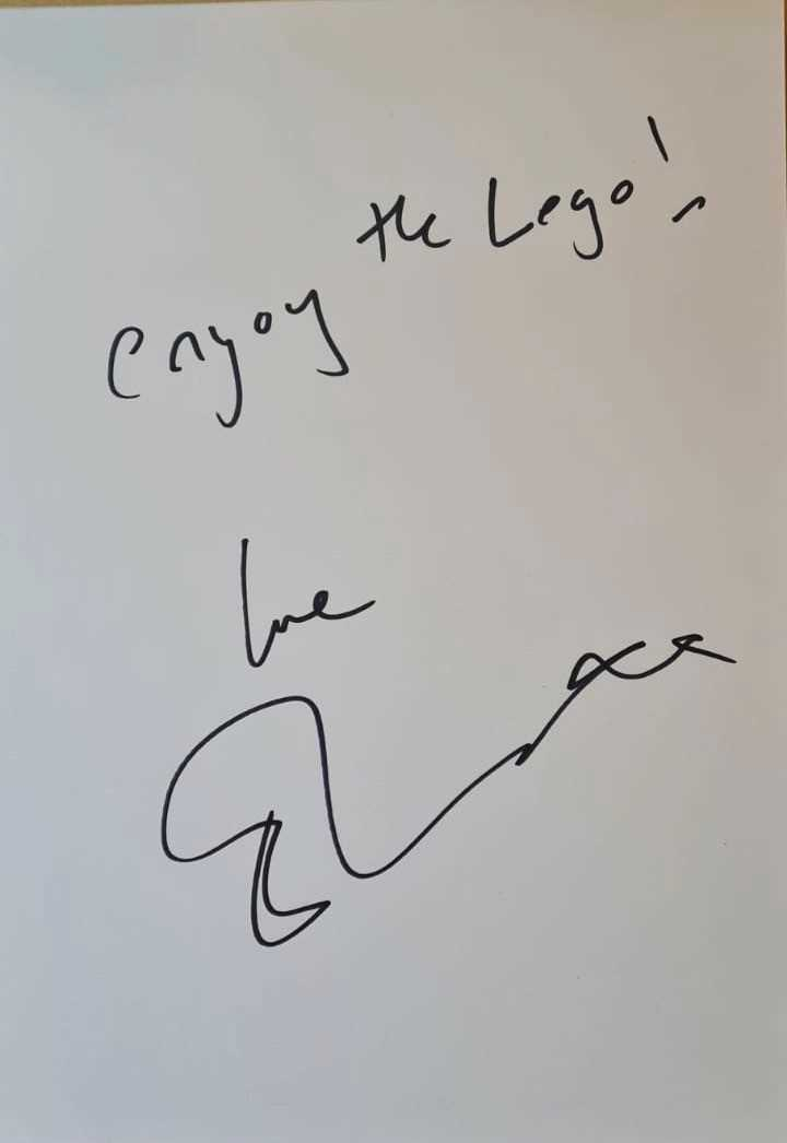 Ed Sheeran's Childhood Lego together with this A4 photograph on a card as seen, signed by Ed. Ed - Image 3 of 5