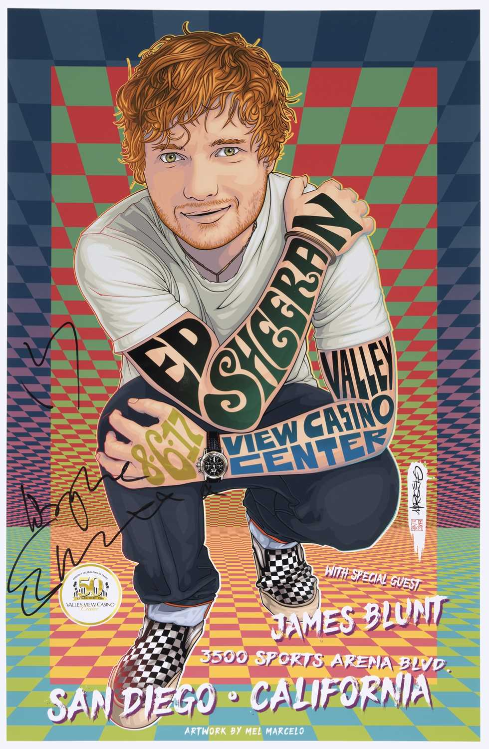 Signed Ed Sheeran Poster, Valley View Casino Center, San Diego, 6 August 2017 Ed Sheeran played to