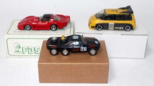 A JPS and FDS 1/43 white metal resin kit built motor sport car group to include a JPS Jules Paris