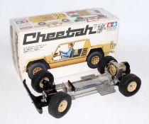 A Tamiya model No. SP1061 part made model of a 1/12 scale Lamborghini Cheetah, chassis has been