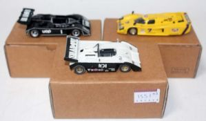 An Esdo & Tenariv 1/43 scale white metal and resin kit built motor sport car group to include an