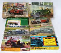 Eight various boxed Airfix and Merit mixed scale saloons and accessory plastic kits to include an