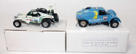 A Jemmpy 1/43 scale resin and white metal kit built racing buggy group to include No. 086 Cotel 1989