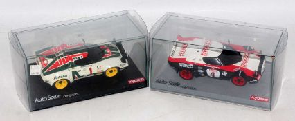An Auto Scale Collection by Kyosho Mini-Z radio controlled car body group to include a Lancia