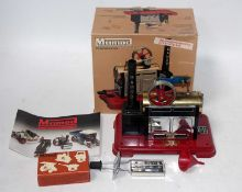 A Mamod SP2 stationary steam engine housed in the original all-card box with leaflet, burner,