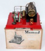 A Mamod SE1 twin cylinder super heated steam engine comprising of tin housed horizontal boiler