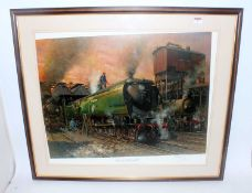 Cuneo print 'Winston Churchill' and other locomotives at Nine Elms shed, limited edition print 158/