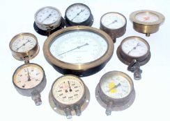 Ten various loose vintage steam and pressure gauges to include CA Stewart of Glasgow
