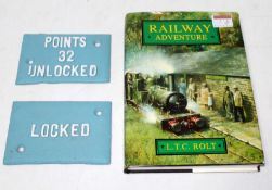 A hardback book Railway Adventure by LTC Rolt early preservation at the Talyllyn Railway, together