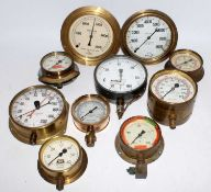 Ten various brass and metal cased pressure gauges, mixed examples to include Aqua Plant Works,