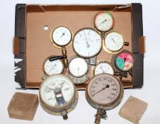 Twelve various boxed and loose vintage pressure and steam gauges, examples to include David Harcourt