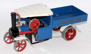 Mamod steam wagon, blue/white with red spoked wheels, some chips to roof and floor (G)