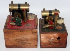 A Bowman Models of Dereham boxed stationary steam plant group, two examples both housed in