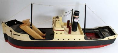 "Triang model ship British Merchant 'Liverpool Coaster' black/red/cream, 30"" long, 6"" beam, will"